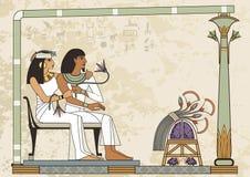 De oude banner van Egypte Egyptisch hiëroglief en symbool Stock Foto's