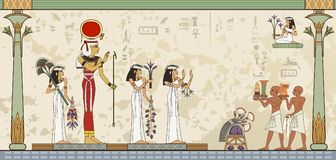 De oude banner van Egypte Egyptisch hiëroglief en symbool Stock Afbeelding