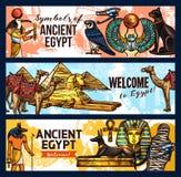 De oude banners, het toerisme en de reis van Egypte vector illustratie