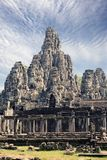 De oude Bayon-Tempel 12de eeuw in Angkor Wat, Siem oogst, Kambodja royalty-vrije stock afbeeldingen
