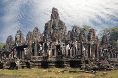 De oude Bayon-Tempel 12de eeuw in Angkor Wat, Siem oogst, Kambodja stock foto