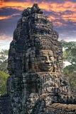 De oude Bayon-Tempel 12de eeuw in Angkor Wat, Siem oogst, Kambodja stock foto's