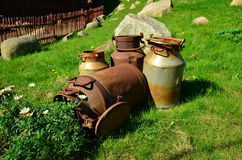 De oude Blikken van de Melk Royalty-vrije Stock Afbeelding