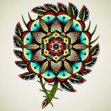 De oude bloem van de schooltatoegering royalty-vrije illustratie