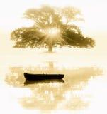 De oude boom en de boot royalty-vrije stock afbeelding