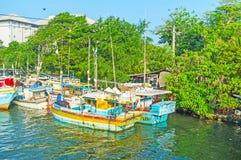 De oude boten in Negombo Royalty-vrije Stock Foto