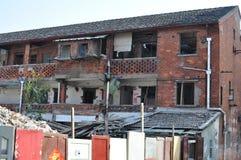 De oude bouw die op het gebied van de binnenstad - Shanghai worden vernietigd - China Stock Foto's