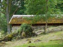 De oude bouw met bemost dak stock afbeeldingen