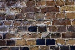 De oude bouw met donkere bakstenen muur Royalty-vrije Stock Fotografie