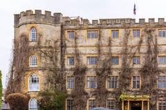 De oude bouw met droge klimop op voorgevel in Somerset Royalty-vrije Stock Foto's