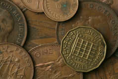 De oude Britse Textuur van Muntstukken Stock Foto's