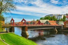 De Oude Brug, Trondheim, Noorwegen stock foto