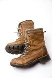 De oude Bruine Laarzen van het Leer Royalty-vrije Stock Foto