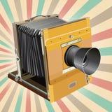 De oude camera van de stijlfoto op retro achtergrond Royalty-vrije Stock Foto's