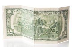 De oude close-up van de twee dollarsrekening Stock Foto