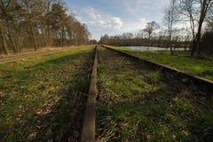 De oude Cursus van spoorlijnborkense dichtbij de Duitse grens in de gemeente van Winterswijk Stock Foto's