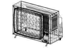 De oude 3D blauwdruk van TV Royalty-vrije Stock Afbeeldingen