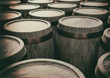 de oude 3d illustratie van wijnstokvaten Stock Fotografie