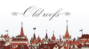 De oude daken van Praag. Kleurrijke vectorillustratie Stock Fotografie