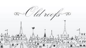 De oude daken van Praag. Vectorillustratie. Achtergrond Royalty-vrije Stock Fotografie