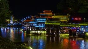 De Oude de Stadsnacht van Fenghuang Royalty-vrije Stock Foto's
