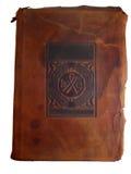De oude dekking van het leerboek Royalty-vrije Stock Afbeelding