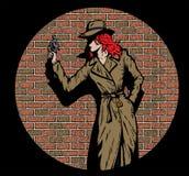 De oude detective van het stijlmeisje, zoals van de jaren '50 Stock Foto's