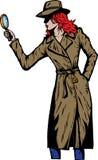 De oude detective van het stijlmeisje, zoals van de jaren '50 Stock Afbeeldingen