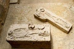De oude die beenderen in de archeologische plaats en Dvaravati van Khonkaen worden ontgraven hebben 3000 Éénjarigen Royalty-vrije Stock Foto's