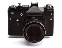 De oude die camera van de oldschoolfoto op witte achtergrond wordt geïsoleerd Stock Foto's