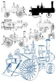 De oude die Retro Motor van de Stoomtractor op Witte Vector wordt geïsoleerd Als achtergrond royalty-vrije illustratie