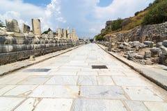 De oude die stad van Ephesus Efes in Turks dichtbij Selcuk-stad van Izmir Turkije wordt gevestigd royalty-vrije stock foto's