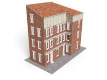 De oude die stadsbouw op witte achtergrond wordt geïsoleerd 3D Illustratie Stock Fotografie