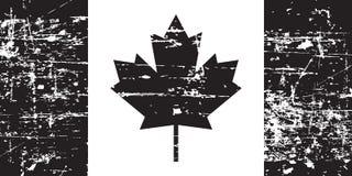 De oude die vlag van Canada grunge, zwarte op witte achtergrond, illustratie wordt geïsoleerd stock illustratie