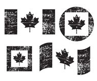 De oude die vlaggen van Canada grunge, zwarte op witte achtergrond, illustratie wordt geïsoleerd vector illustratie