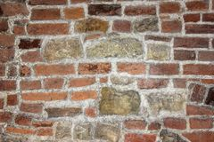 De oude donkere texturen of de achtergrond van de toonbakstenen muur Royalty-vrije Stock Fotografie
