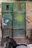 De oude Donkergroene smaragdgroene deur van het metaalvuil met sleutelgat en roestige metaallockas een mooie uitstekende achtergr Stock Afbeelding
