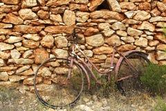De oude doorstane muur van de fiets uitstekende steen Stock Foto's