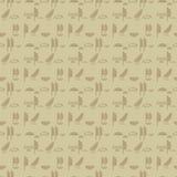 De oude Egyptische muur van hiërogliefen imitatieinschrijvingen van bruine zandsymbolen van horizontale lijnen naadloos vectorpat stock illustratie