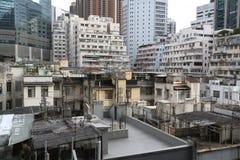 De oude en Nieuwe Bouw in Verhoogde wegbaai, Hong Kong Royalty-vrije Stock Afbeeldingen