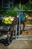 De oude fiets met bloemen in Provincetown Massachusetts de V.S. Augustus 2017 aan het eind van Cape Cod Provincetown heeft een gr stock foto