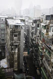 De oude flat blokkeert Macao China op een regenachtige dag. Royalty-vrije Stock Foto