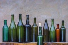 De oude Flessen van de Wijn Stock Foto's