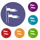 De oude geplaatste pictogrammen van slagvlaggen Royalty-vrije Stock Afbeelding