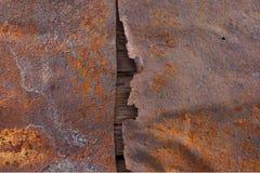 De oude geroeste textuur van de metaaloppervlakte Stock Foto's