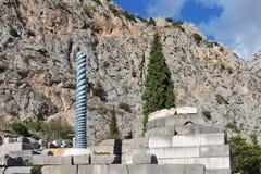 De oude Griekse kolom in Delphi, Griekenland Royalty-vrije Stock Afbeeldingen