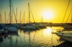 De oude haven van avondjaffa bij zonsondergang van de dag Tel. Aviv Yafo Israel royalty-vrije stock afbeelding