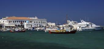 De oude haven van Mykonos Stock Foto's