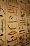 De oude hiërogliefen van Egypte die op de steen worden gesneden Royalty-vrije Stock Foto's
