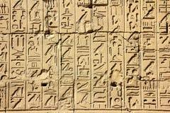De oude hiërogliefen van Egypte in karnaktempel stock foto